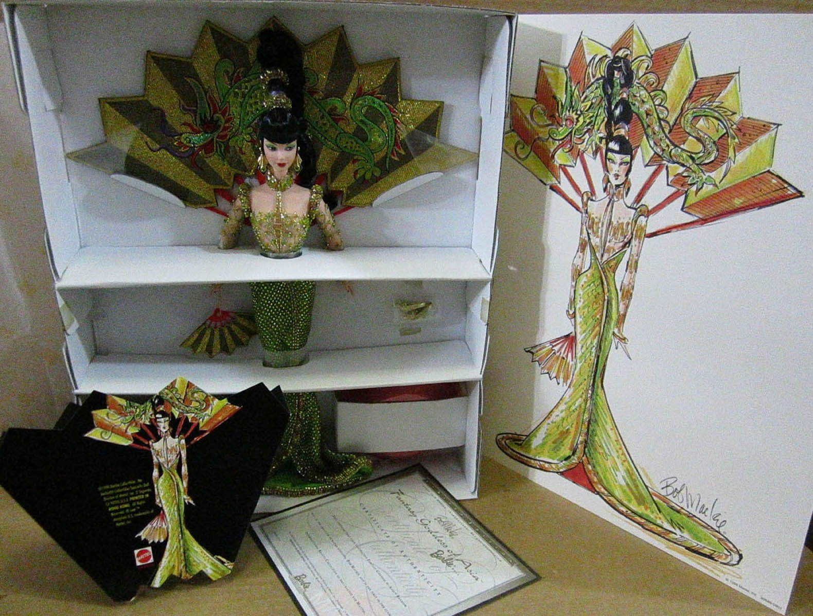 Bob Mackie Fantasía Diosa de Asia Muñeca Barbie 1st en una nueva serie en remitente A5