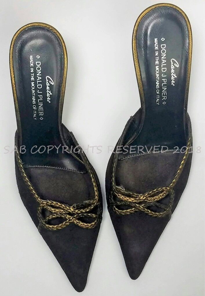 DONALD DONALD DONALD J PLINER Couture Brown Suede RICA Mules Kitten Heels SHOES 5.5 ITALY 14ddf6