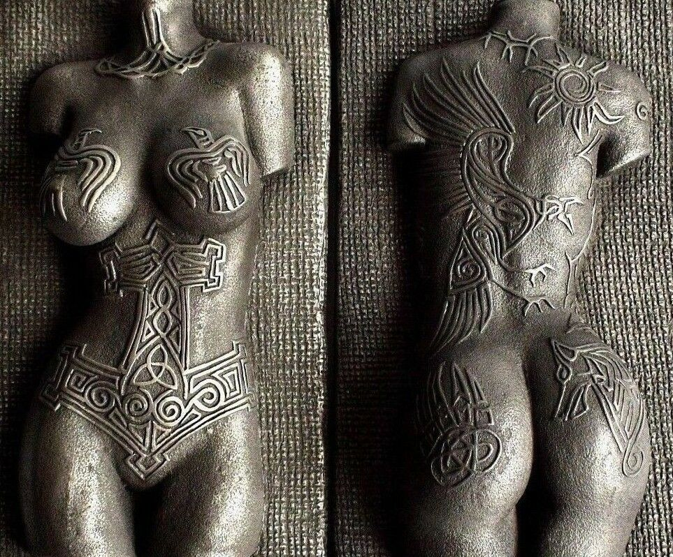 Viking Norse Female Valkyrie Nude Torso Tattoo Erotic Pewter Wall Art Sculpture