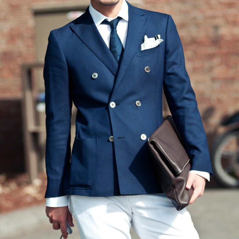 Blue Jacket White Pants Men Suits Double-Breasted Tuxedos Wedding Formal Custom