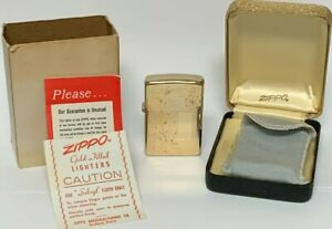Vintage-Zippo-1970s-Lighter-10k-Gold-Filled-NEAR-MINT-in-BOX-w-PAPERS-WOW