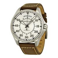 Hamilton Khaki Aviation Pilot Automatic Silver Dial Brown Leather Mens Watch