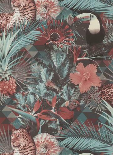 GEOMETRIC ANIMAL JUNGLE Papier Peint Vinyle Noir Vert Rose OISEAUX DECO DISCOUNT