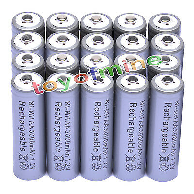 20x AAA 1800mAh 1.2V Ni-MH Rechargeable battery 3A Grey Cell for MP3 RC Toys