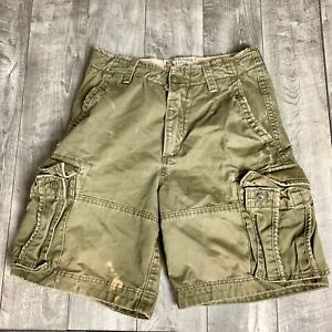 RARE-Abercrombie-amp-Fitch-Military-Style-DISTRESSED-HEAVY-Cargo-Shorts-Mens-32