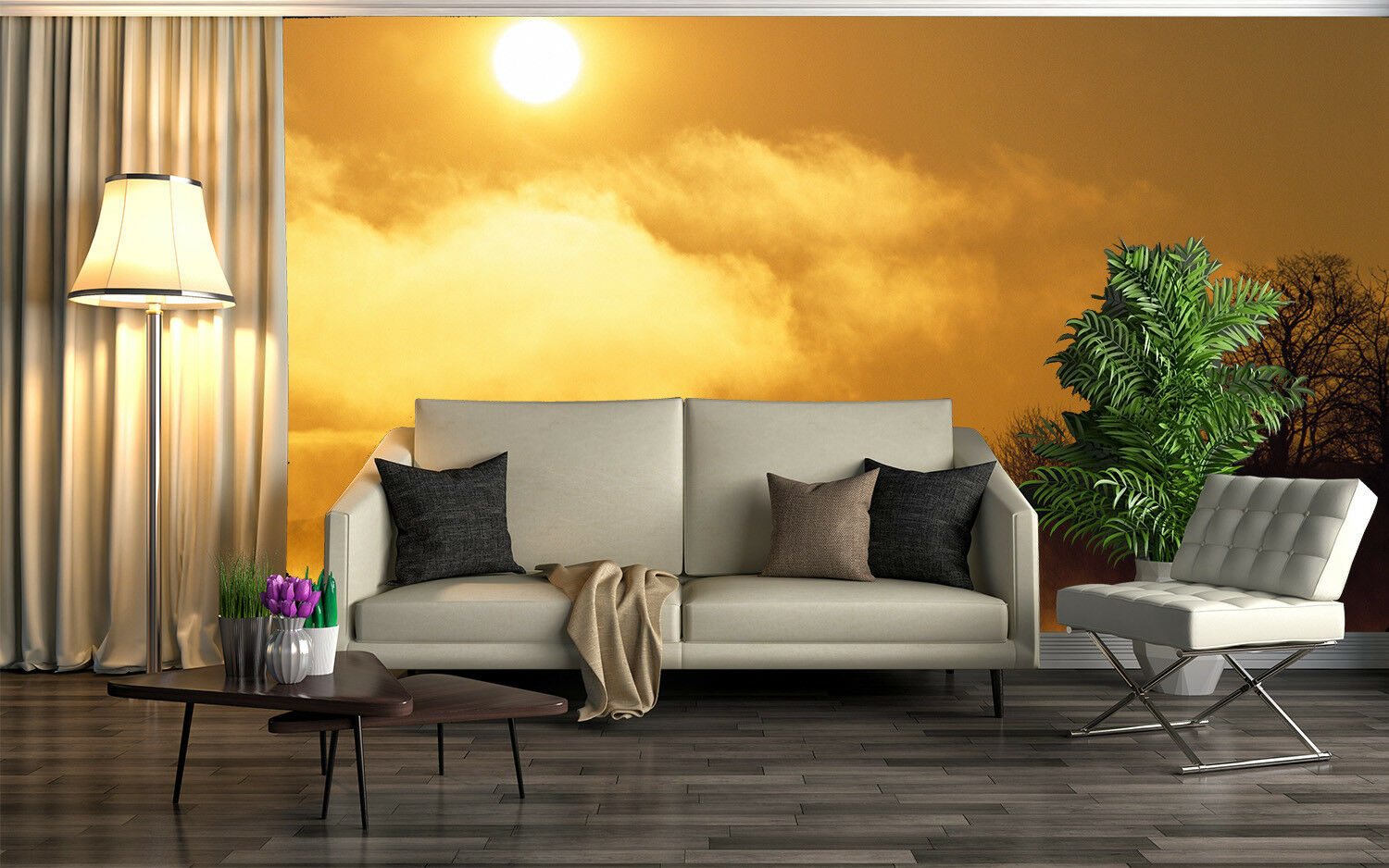 3D Dusk Forest 4045 Wallpaper Murals Wall Print Wallpaper Mural AJ WALL UK Lemon