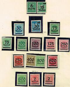 Allemagne Weimar République Hyperinflation Timbres Page Jusqu 2 Million Dm 1922 Et D'Avoir Une Longue Vie.