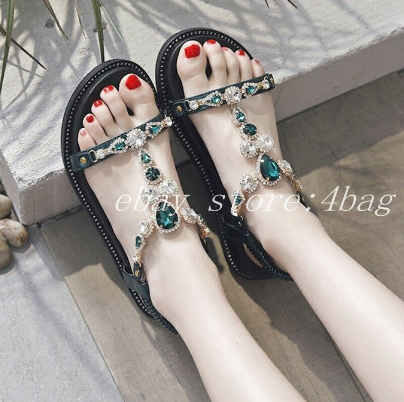 New Bohemia shoes Open Toe Sandals Rhinestone Bling Flats Beach shoes Roman Size