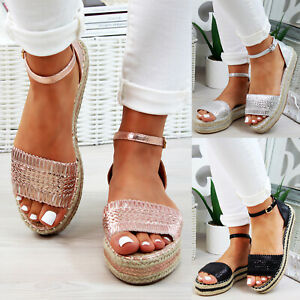 New-Womens-Platform-Sandals-Espadrille-Ankle-Strap-Comfy-Holiday-Shoes-Sizes-3-8