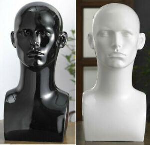 Black-Glossy-Professional-Male-Mannequin-Head-for-Display-Gamer-Headset-Stand-UK