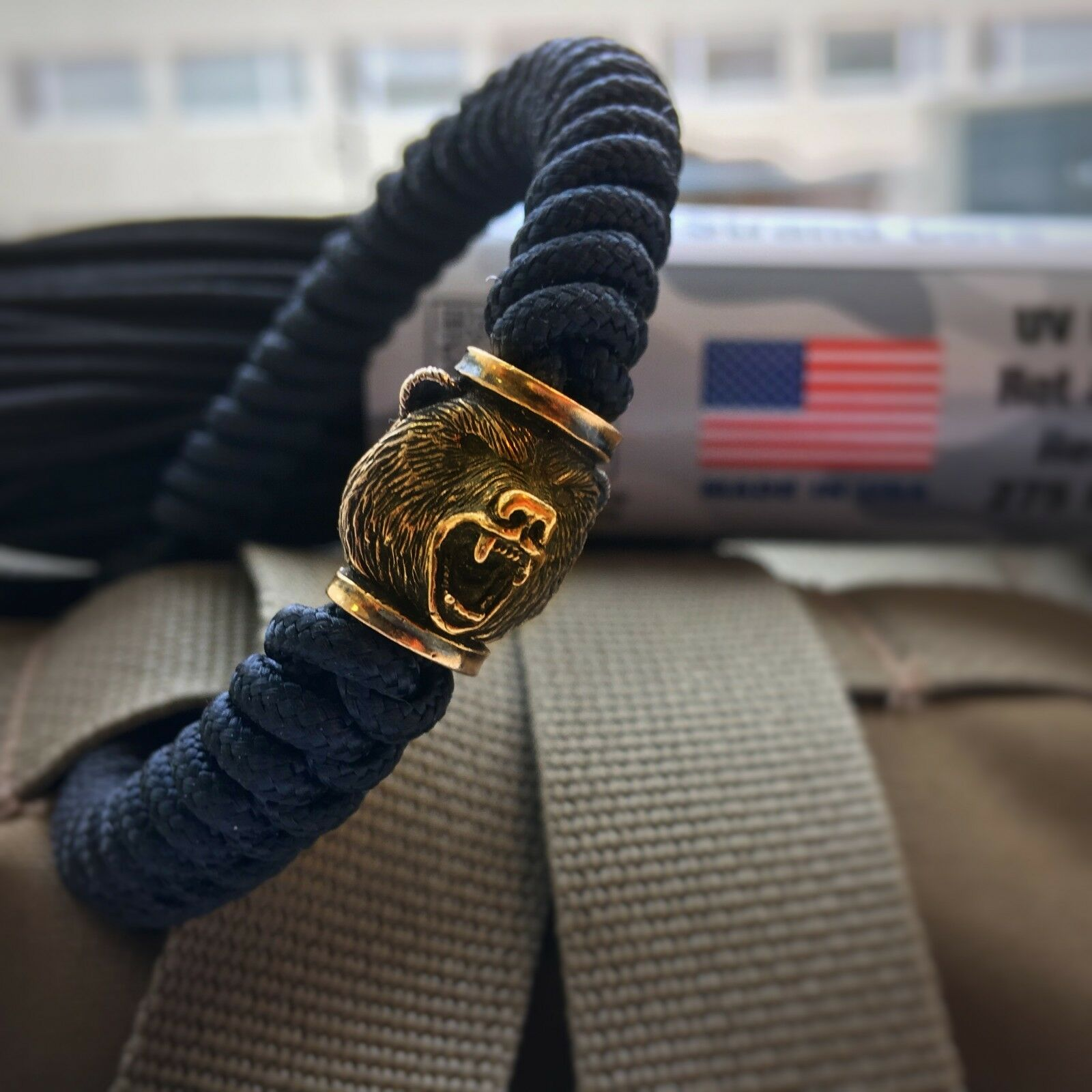 Tactical cord bracelet  with paracord solid brass bead