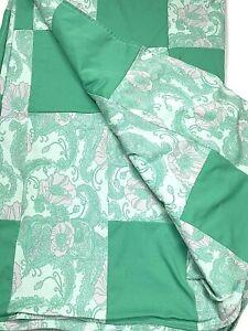 Vintage 50s - 60s Custom Hand Made Queen BedSpread Bedding Comforter Quilt Green