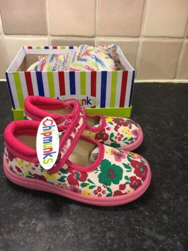 8 Chipmunk childrens infant floral canvas shoes Sizes 7 9 Brand New