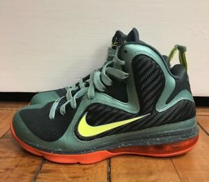 competitive price 8152d 1d4d3 Image is loading NIKE-LEBRON-9-CANNON-PRE-HEAT-GREEN-ORANGE-