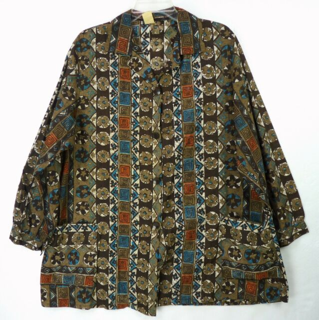 Vintage 60s Brown Tribal Tiki Floral Print Maternity Smock Blouse Pockets XL 1X