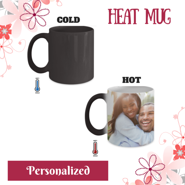 Personalized Photo Mug, Color Changing Heat Cup, Custom Image, Photo, Logo, Text