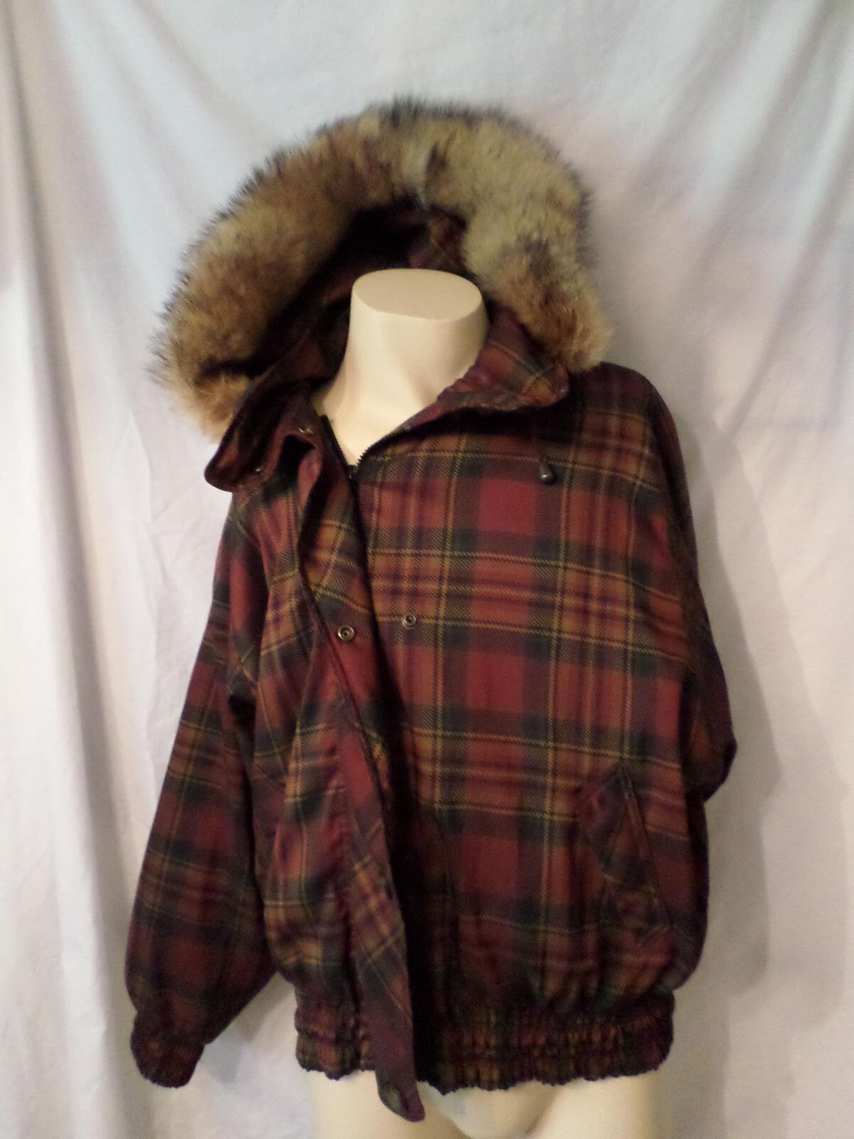 London Fog Plaid Coat Medium Fur Hood 3M Thinsulate Zip Liner HTF EUC Unique Uni