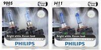 4x Philips 9005+H11 Xenon Super Bright White Crystal Vision Power Light Bulb 65W