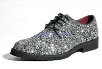 Mens Bling Bling Glitter Sequins Lace Up Flat Fashion Dress Show Nightclub Shoes