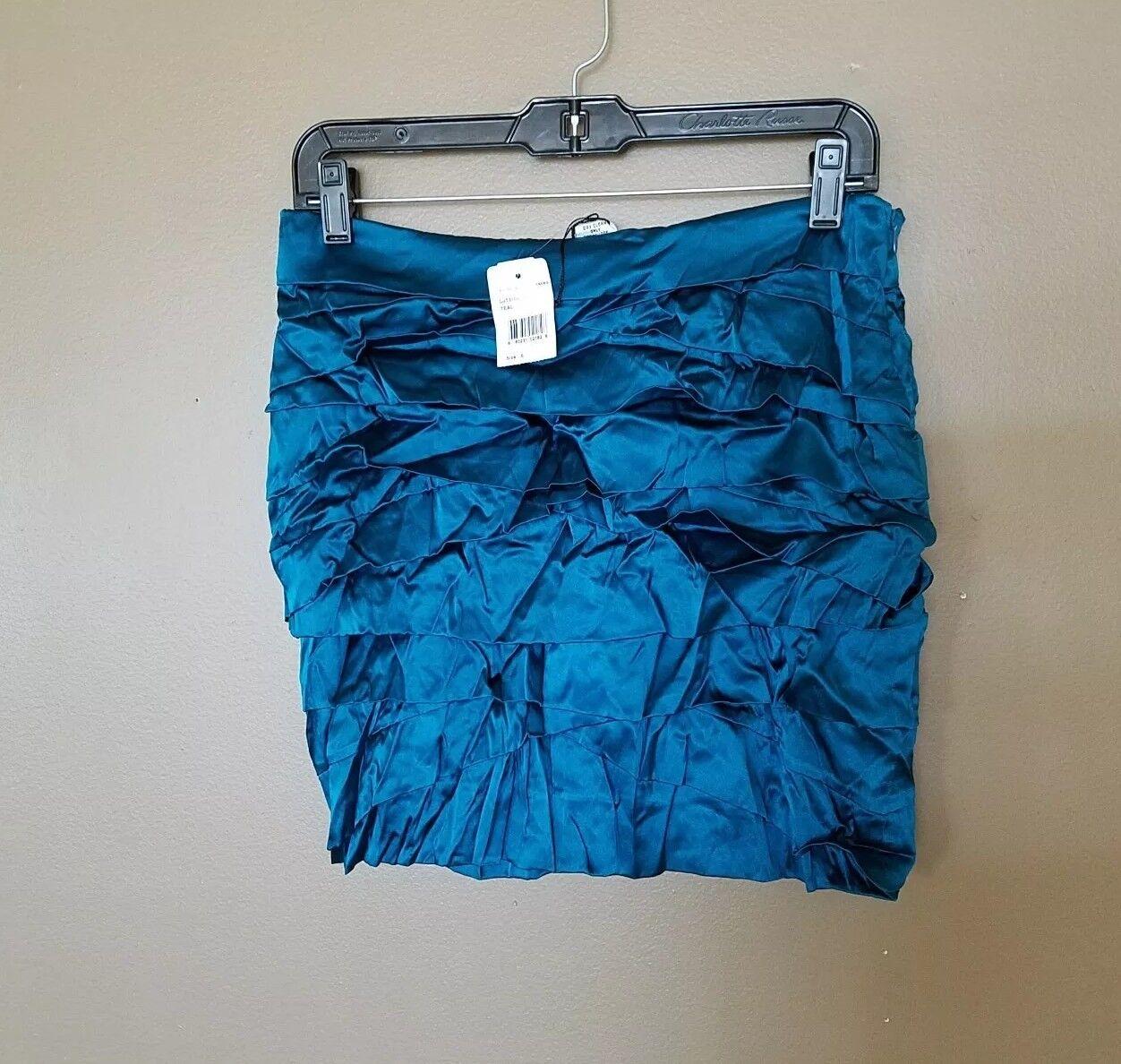 NWT DIANE VON FURSTENBERG Womens Tiered Stretch 100% SILK Skirt size 6 Medium