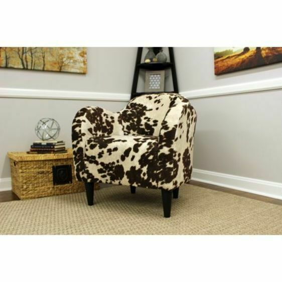 Modern Faux Cowhide Accent Chair Animal Print Seat Office Living Room  Furniture