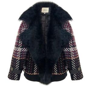 inspiré mgic carreaux tweed à longueur taille vraie Designer manteau oversize femmes fourrure p8dwqPd
