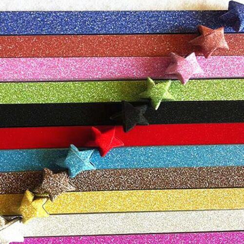 Craft DIY Glitter Folding Paper Lucky Wish Star Cute Origami Paper Scrapbooking