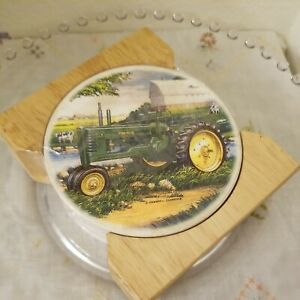 John Deere Ceramic Coasters Wood Caddy Set of 4