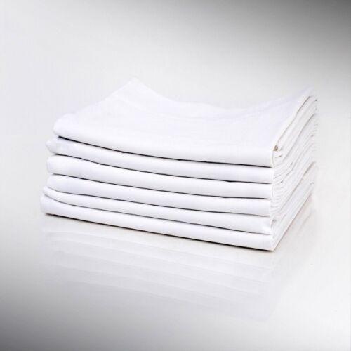 4 white pillow cases standard size 20x32 t180 percale hotel linen cotton rich