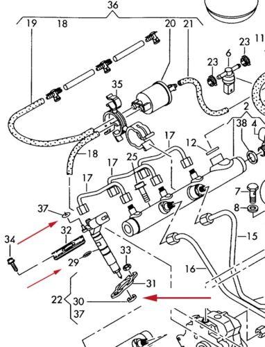 6 X Set montaggio penna preriempita con VAG 1.6 TDI//2.0 TDI//2.7 TDI//3.0 TDI-MOTORI