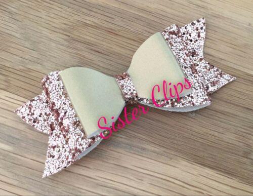 """Girls Handmade champagne rose gold glitter 4/"""" bow hair clip"""