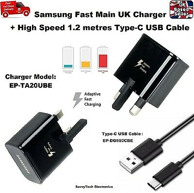 Official Samsung Galaxy S9 S9+ UK Adaptive Fast Charger + 1 2M Type-C USB  Cable 790996712727   eBay