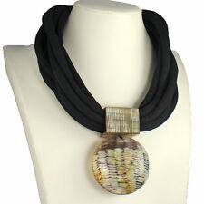 Buffalo horn oversized tribal style statement round pendant choker necklace