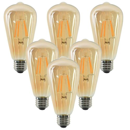 Dimmable E27 Retro Vintage Flexible LED Edison Spiral Filament Light Bulb 6 Pack