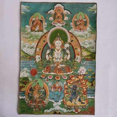 "36/"" Tibet Tibetan Cloth Silk Buddhism 4 Arm Guanyin Kwan-yin Tangka Thangka #14"