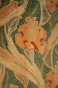 Antique-Velvetine-Curtain-Art-Nouveau-Design-Rare-Rich-Green-Tones-1-of-Set-1900