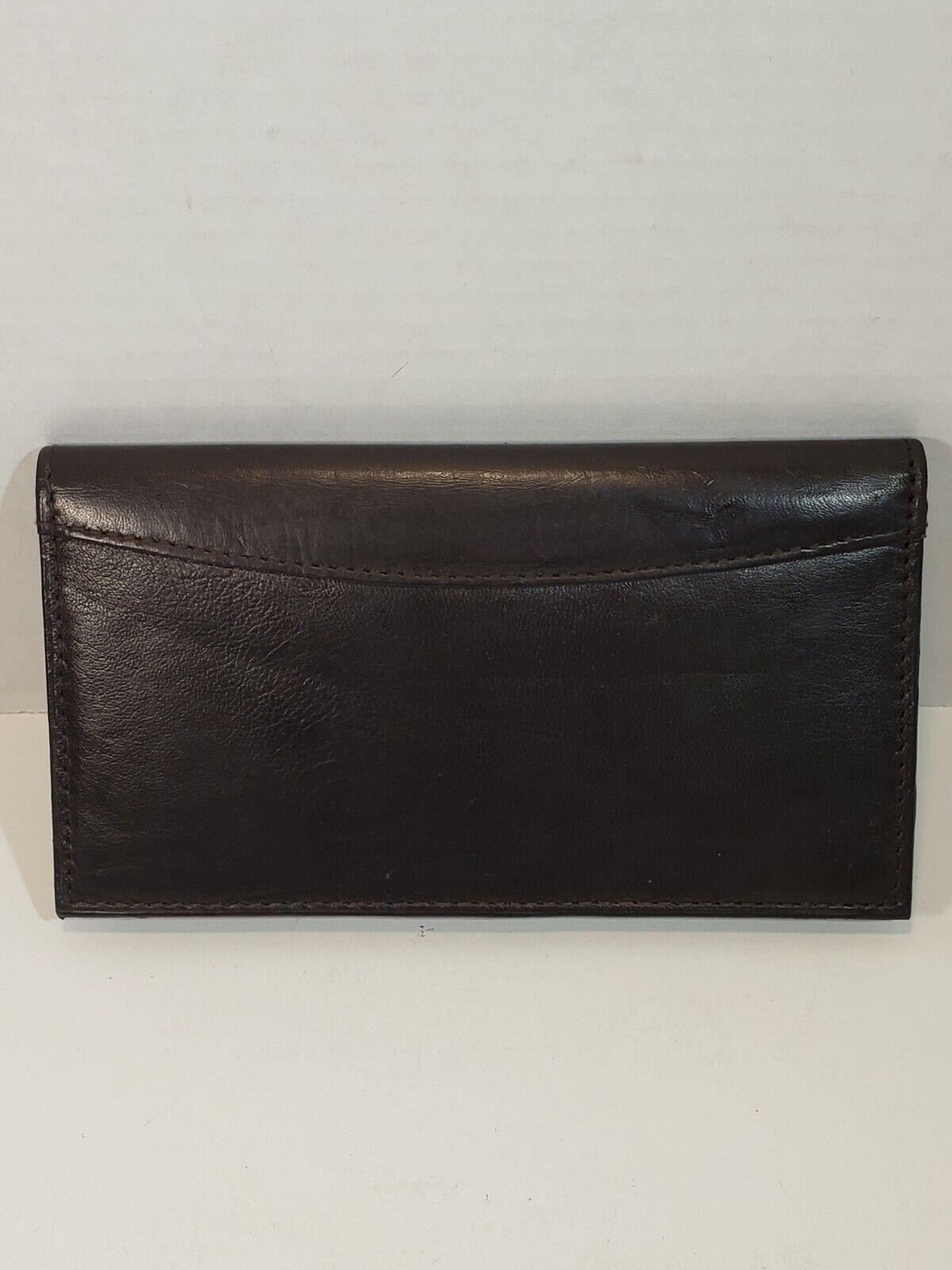 Lambskin Leather Checkbook Wallet Cash Pocket 8 Slot Credit Card & ID Holder BRN