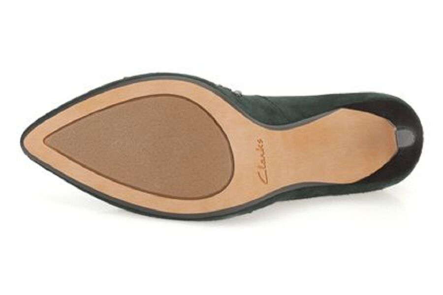 New Clarks Women Dark Green Suede Azizi Verdi Smart Smart Smart shoes UK 5, 5.5 737411
