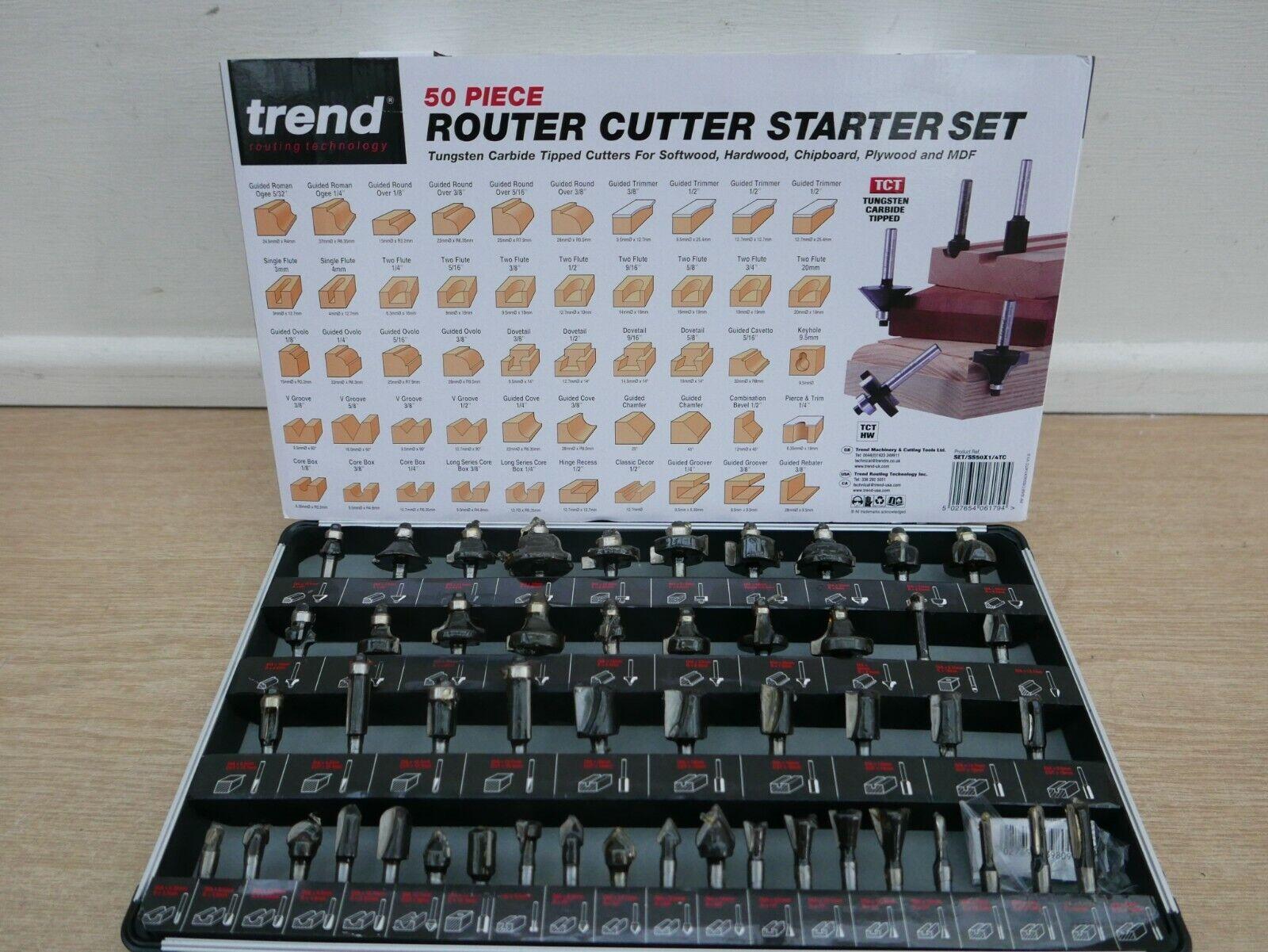 """Trend SET//SS50X1//4TC 1//4/"""" Queue 50 Pièces TCT routeur Cutter Bit Set"""