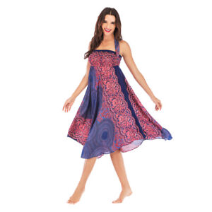 Détails sur Jupe longue bohème Hippie pour femmes robe gitane Boho vêtements jupe bleu