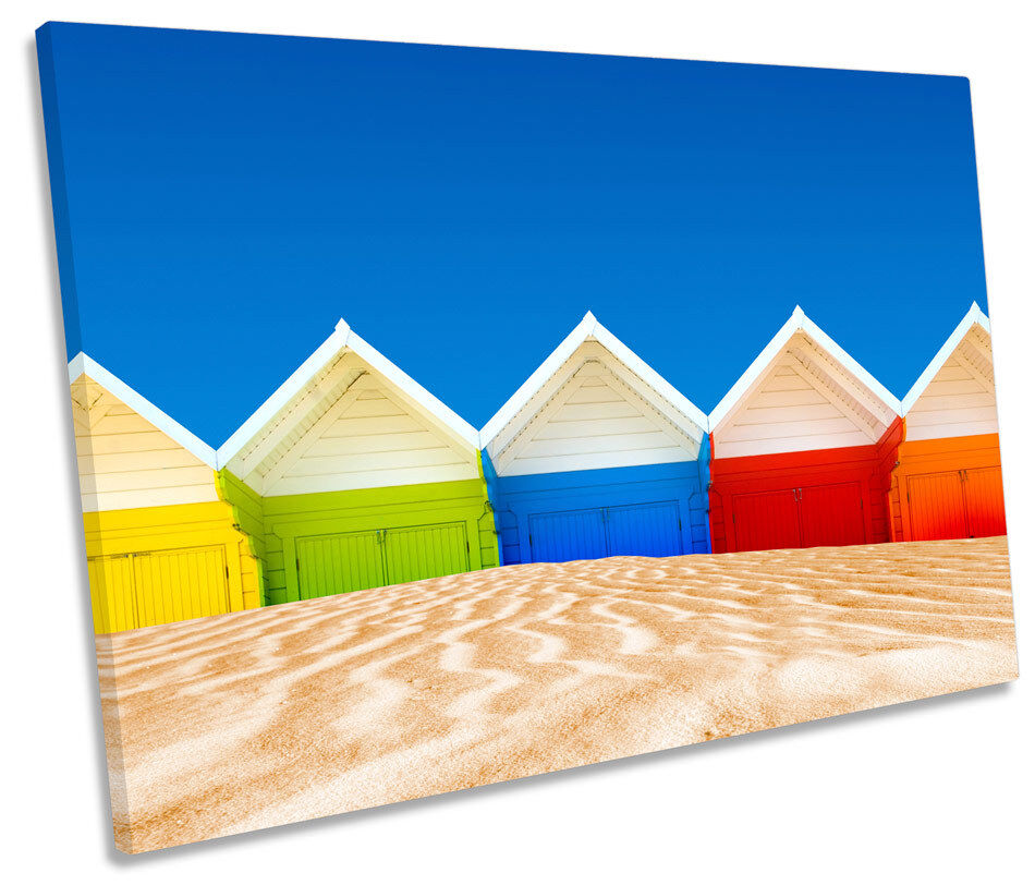 Seaside Beach Huts Modern SINGLE CANVAS Wand Kunst Drucken Bild