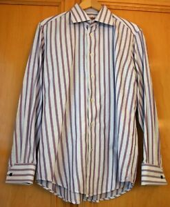 Robert-Graham-Long-Sleeve-Shirt-Size-42-X-16-1-2-Purple-and-White-Striped-NEW