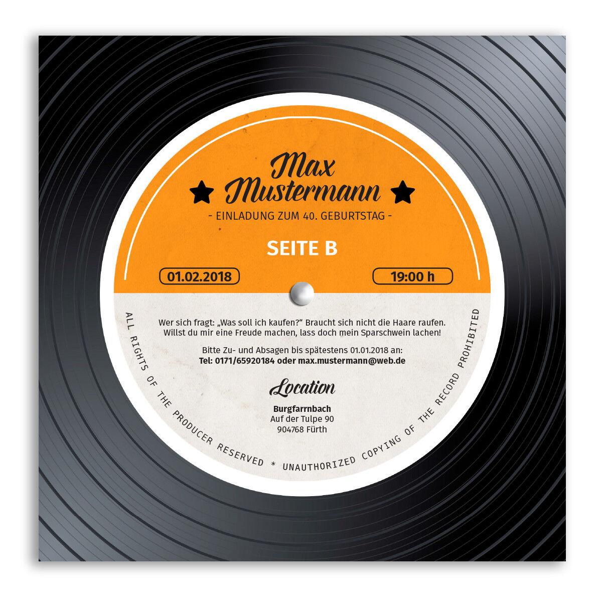 Einladungen zum Geburtstag als Schallplatte Musik Scheibe Vinyl LP CD