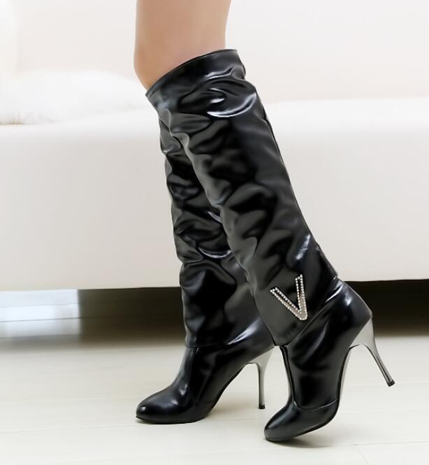 Womens Buckle Pointy Toe Knee High Boots Metal Stilettos High Heel shoes Uk Sz