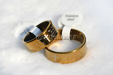 6ps English Bible Prayer Stainless steel Cross Gold Rings Wid 8 Thick 1.2mm FREE