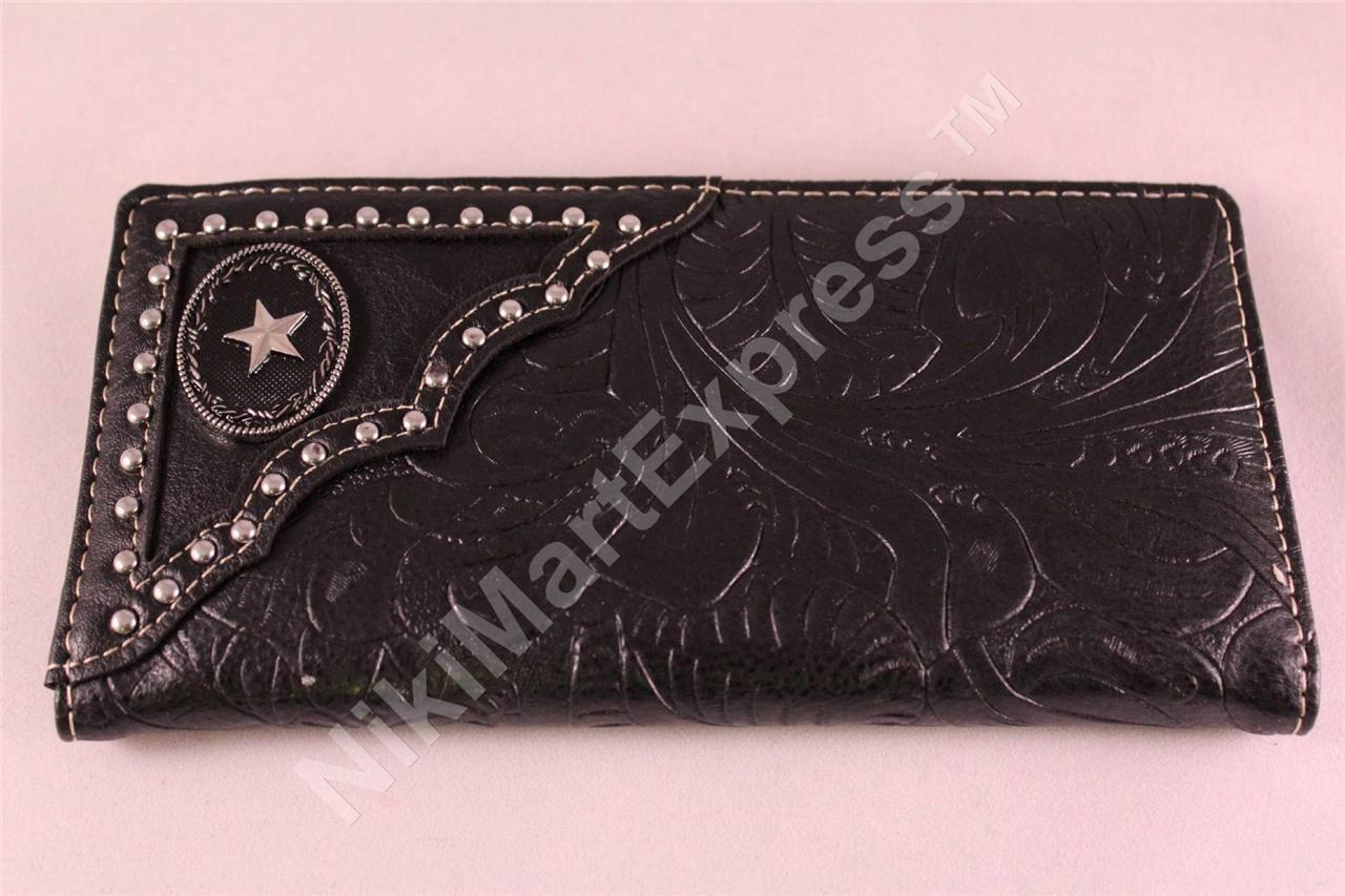 Man's WESTERN BUDDED CARVED PATTERN CHECKBOOK RODEO WALLET with CAST STAR CONCHO