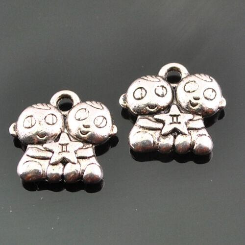 20//50pcs Anti-silver Alloy Little Baby With Star DIY Pendants14x13mm DZ205