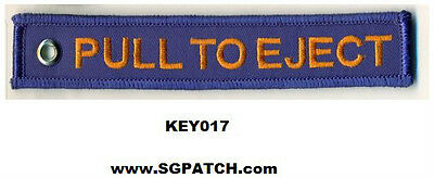 BLUE PULL TO EJECT - EMBROIDERED KEYCHAIN -- KEY017