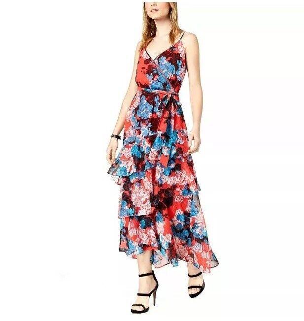 Bar III Blau Rosa Ruffle Maxi Dress Größe M NWT