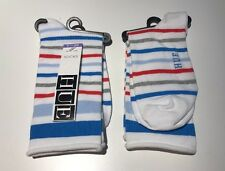 2-pairs HUE Jeans Socks White Red Blue Gray Stripes NWT One Size